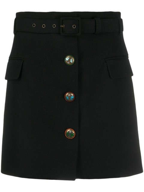 Givenchy - fitted button detail skirt - women - Silk/Lamb Skin/Polyester/Wool - 34 - Black
