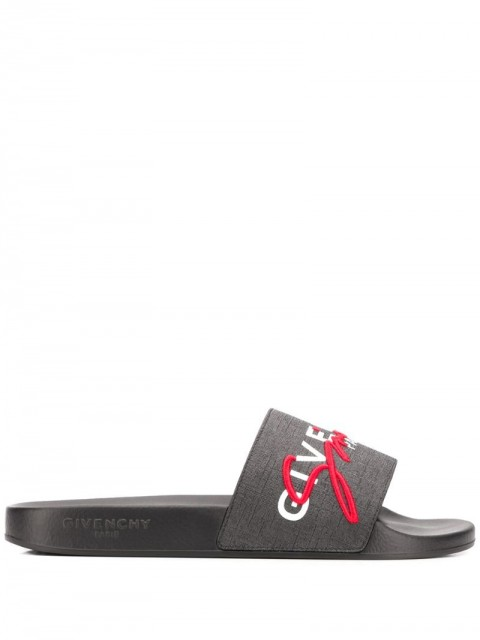 Givenchy - signature embroidered slides - men - Leather/Polyester/Rubber - 39, 41, 40, 43 - Black