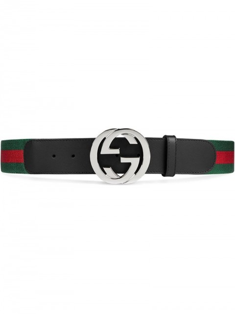 Gucci - Web belt with G buckle - unisex - Leather/Nylon/metal - 85, 90, 100, 105, 75, 80, 95, 110, 115, 120 - Black