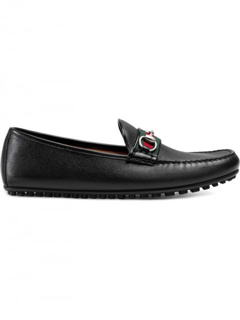 Gucci - Leather driver with Web - men - Leather/Rubber - 10, 5,5, 11, 11,5, 12, 10,5, 7, 8, 8,5, 6,5, 6, 5 - Black