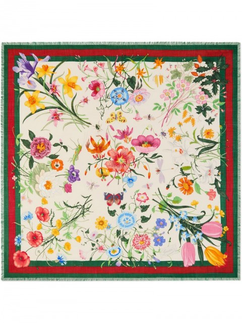 Gucci - Flora Web print shawl - women - Silk/Wool - One Size - Multicolour