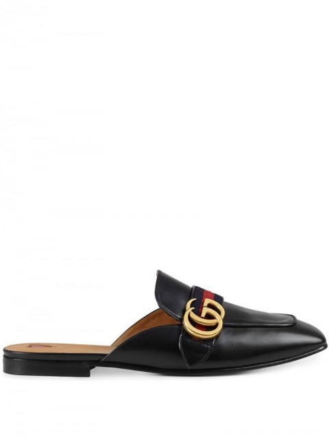 Gucci - Web-trimmed slippers - women - metal/Leather - 35, 35.5, 36, 36.5, 34, 37, 37.5 - Black