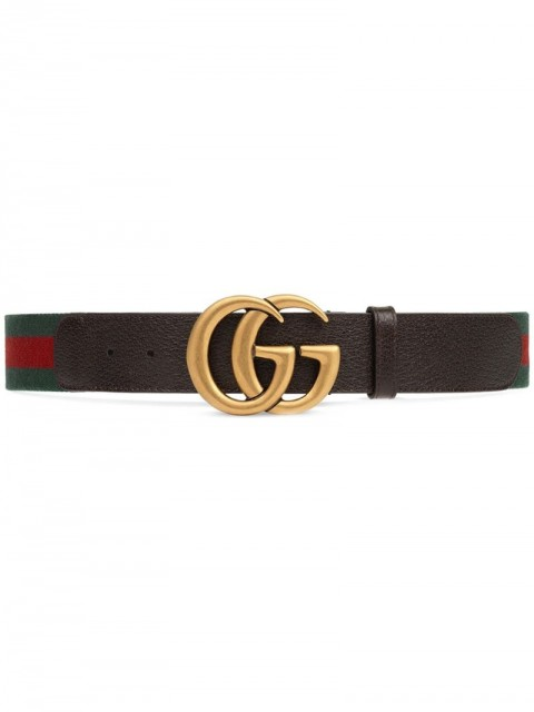 Gucci - Web belt with Double G buckle - women - Brass/Canvas/Leather - 65, 75, 80, 85, 95, 70, 90, 100, 105 - Multicolour
