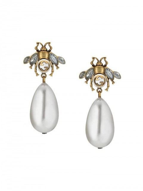 Gucci - Bee earrings with drop pearls - women - glass/Crystal/Pearls/metal - One Size - Neutrals