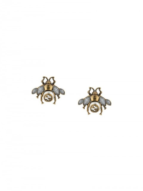 Gucci - Bee earrings with crystals - women - glass/metal/Crystal - One Size - Metallic
