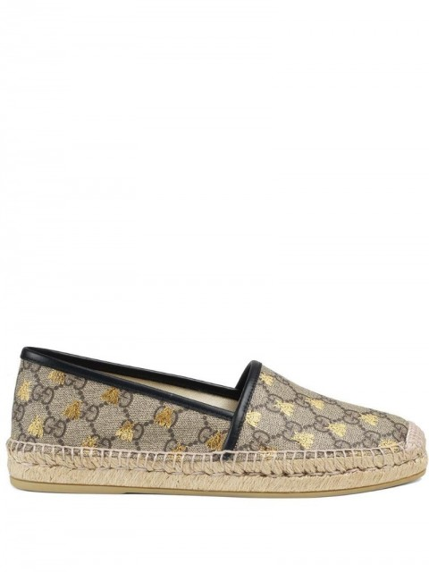 Gucci - GG Supreme bees espadrille - women - Canvas/Rubber/Leather - 34, 35, 35.5, 36, 36.5, 37, 37.5, 38, 38.5, 39.5, 40, 40.5, 41, 41.5, 42 - Brown