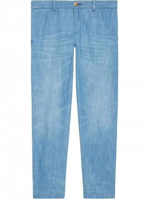 Gucci - Bleached denim chino - men - Cotton - 36, 33 - Blue