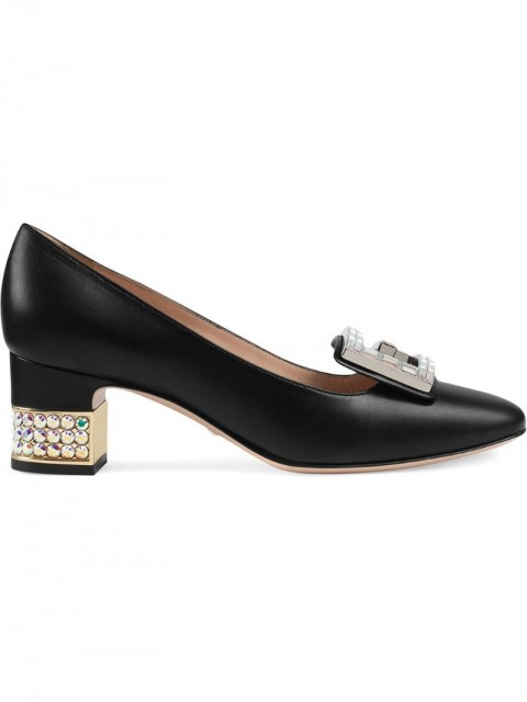 Gucci - Leather mid-heel pump with crystal G - women - Leather/Crystal - 37, 38.5, 39, 37.5, 38, 40, 35, 35.5, 36 - Black