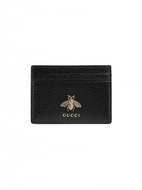 Gucci - Animalier leather card case - men - metal/Leather - One Size - Black