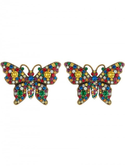 Gucci - Crystal studded butterfly earrings - men - Gold Plated Metal/Crystal - One Size - yellow