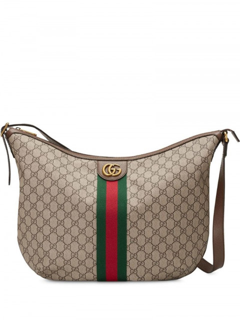 Gucci - Ophidia GG shoulder bag - women - Leather/Linen/Flax/Microfibre - One Size - Brown