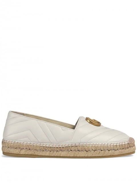 Gucci - Leather espadrille with Double G - women - Straw/Leather/Rubber - 36, 35.5, 39, 38, 41, 42, 38.5, 39.5, 40.5, 37.5, 40 - White