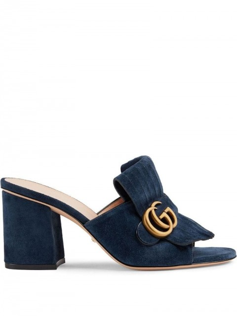 Gucci - Suede mid-heel slide with Double G - women - Leather/Suede/Rubber - 38, 35, 40, 37, 36 - Blue