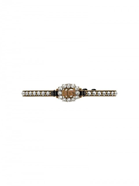 Gucci - Leather choker with Double G - women - Gold Plated Metal/Crystal/Leather - One Size - Black