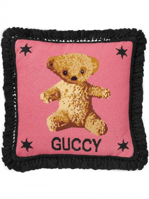 Gucci - teddy bear needlepoint cushion - unisex - Feather/Wool - One Size - PINK