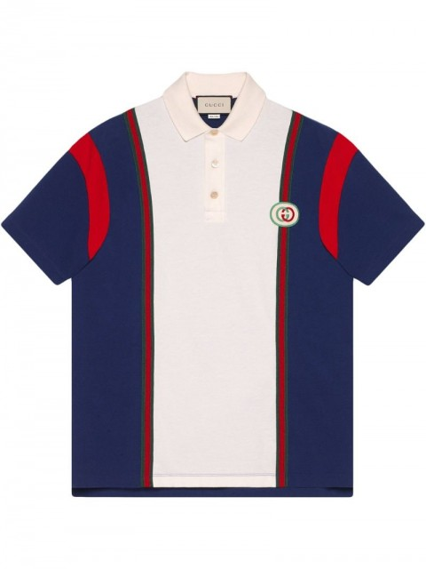 Gucci - Polo with Interlocking G patch - men - Cotton - XS - Blue