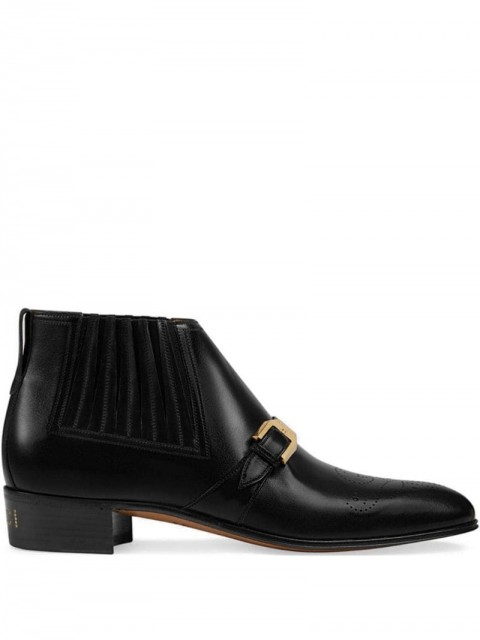 Gucci - leather ankle boot with G brogue - men - Leather - 6,5, 7, 7,5, 8,5, 9, 10, 10,5, 11, 6, 8, 9,5, 5 - Black