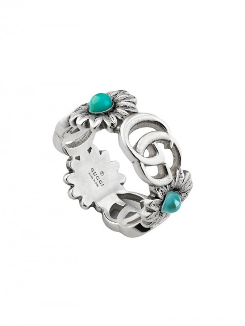 Gucci - Double G flower ring - women - Sterling Silver/Resin/Topaz/Mother of Pearl - 49, 50, 51, 53, 55, 56, 57 - Metallic