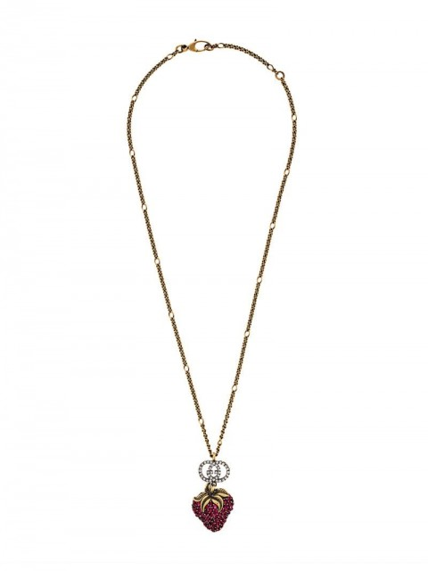 Gucci - strawberry pendant necklace - men - Crystal/metal - One Size - GOLD