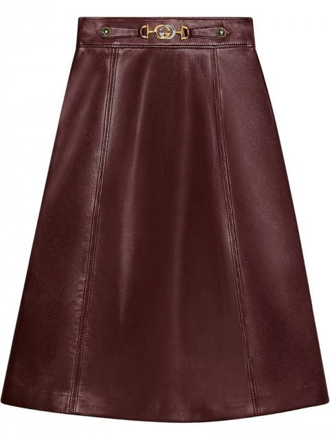 Gucci - Leather skirt with Interlocking G detail - women - Leather - 44 - Red