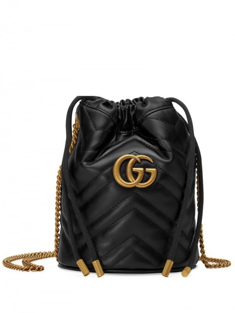 Gucci - mini GG Marmont bucket bag - women - metal/Leather/Microfibre - One Size - Black