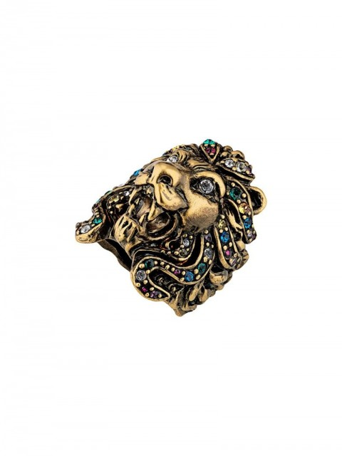 Gucci - Lion head ring with multicolor crystals - women - metal/Crystal - 53, 56, 50 - GOLD