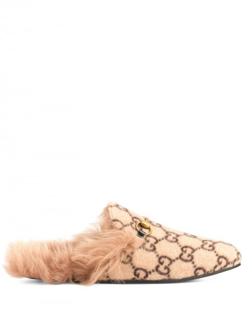 Gucci - monogram Princetown slippers - men - Leather/Wool/metal - 5, 6, 6,5, 7, 7,5 - Neutrals