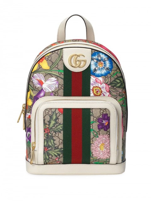 Gucci - flora print monogram backpack - women - Leather/Nylon/Canvas/metal - One Size - Neutrals