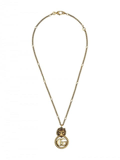 Gucci - lion head necklace - women - Gold Plated Metal - One Size - GOLD