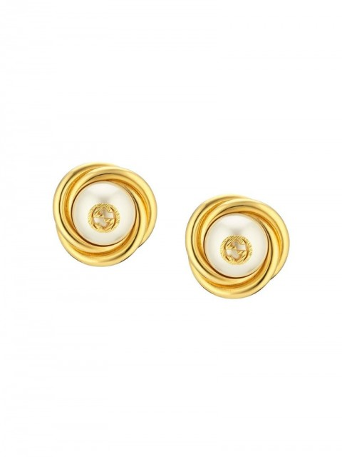 Gucci - logo detail glass pearl bead earrings - women - glass/Gold Plated Metal - One Size - GOLD