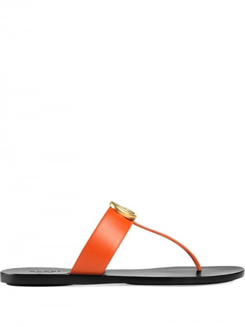 Gucci - Marmont GG thong sandals - women - Leather - 35 - ORANGE