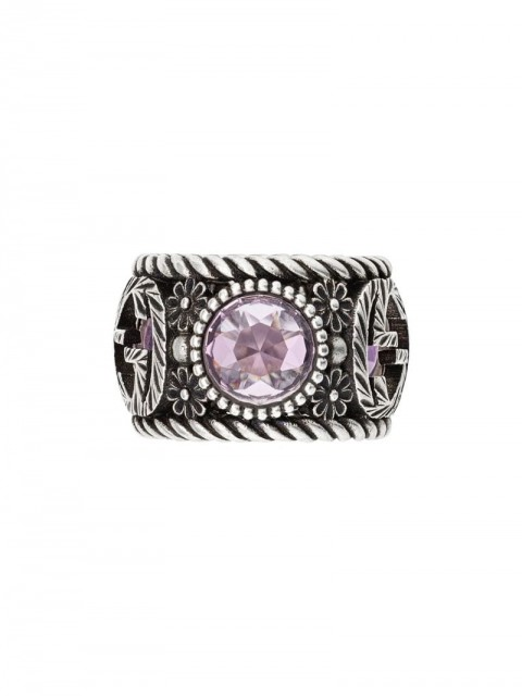 Gucci - Interlocking G and flowers ring - women - Acrylic/Sterling Silver - 53, 55, 57 - SILVER