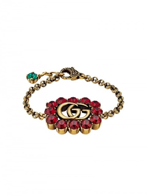 Gucci - Double G bracelet - women - Crystal/metal - One Size - GOLD