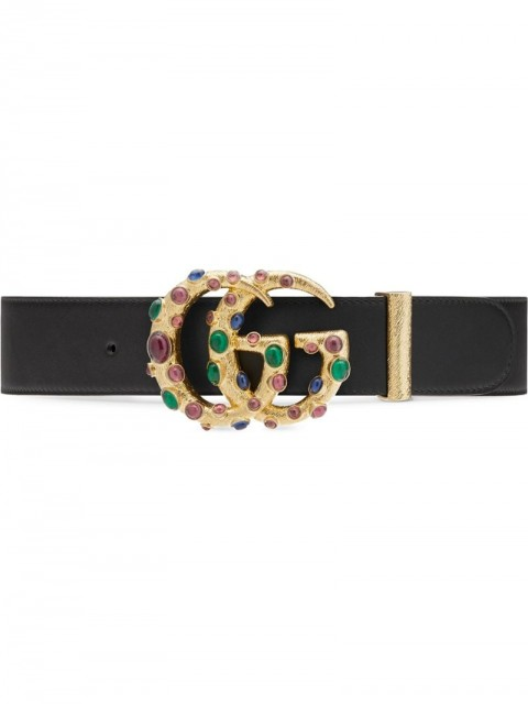 Gucci - embellished GG buckle belt - women - Leather - 70, 80, 75, 85 - Black