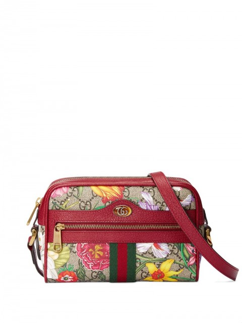 Gucci - Ophidia Flora mini bag - women - Leather/Canvas/Suede/Microfibre - One Size - Red