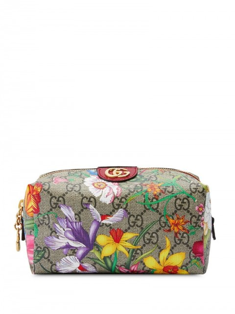 Gucci - Ophidia GG Flora cosmetic case - women - Leather - One Size - Neutrals