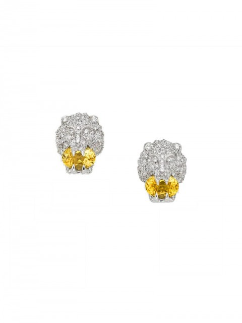 Gucci - 18kt white gold lion head stud earrings - women - Diamond/18kt White Gold - One Size - COTTON AND PA