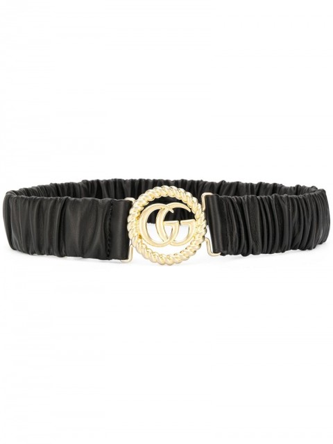 Gucci - ruched leather logo belt - women - Leather - 80, 90, 75 - Black