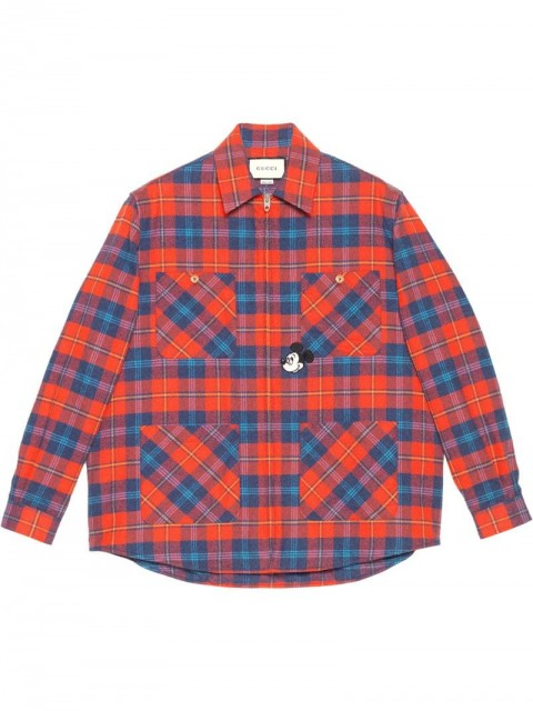 Gucci - x Disney checked zip-up shirt - men - Cotton - 48, 46, 50, 58 - Red