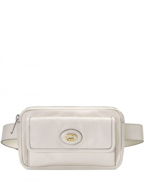 Gucci - GG logo belt bag - women - Cotton/Leather/Gold Plated Metal - 95 - White