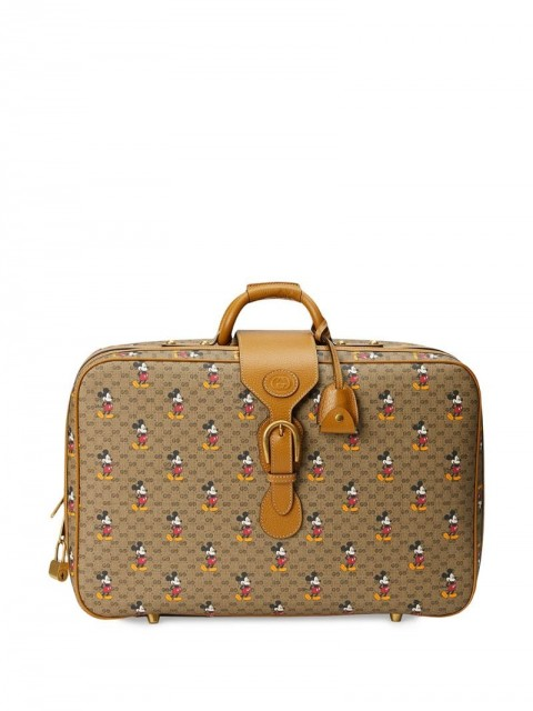 Gucci - x Disney GG and Mickey print suitcase - men - Cotton/Leather/Gold Plated Metal - One Size - Brown