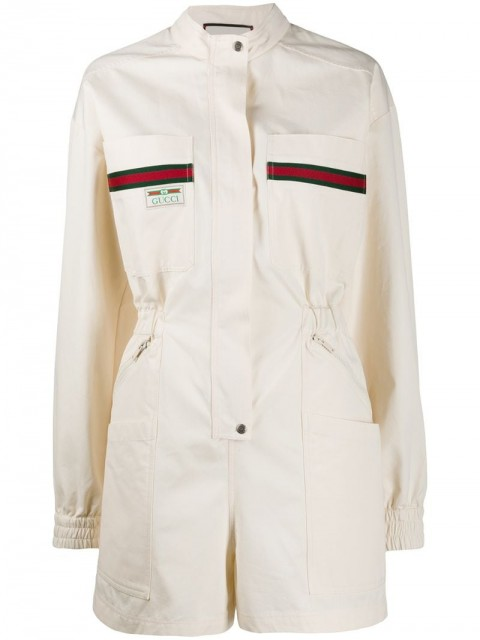 Gucci - Web logo patch playsuit - women - Cotton/Acrylic/Polyester/Viscose - S, XS, M - Neutrals