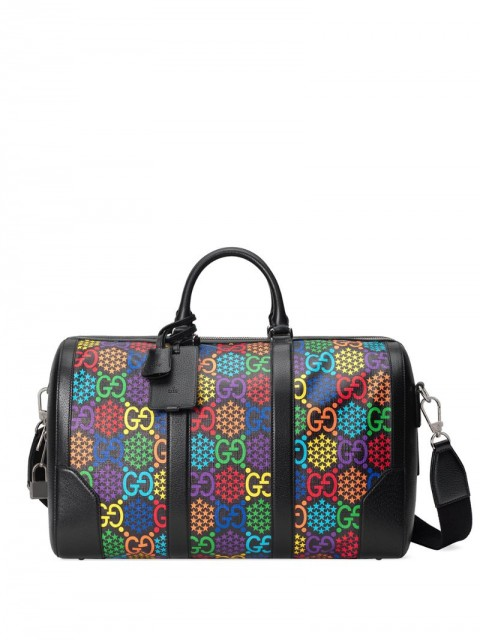 Gucci - Psychedelic logo-print holdall - unisex - Cotton/Leather/Canvas - One Size - Black