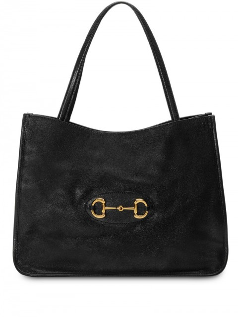 Gucci - Gucci 1955 Horsebit tote bag - women - Cotton/Leather/Gold Plated Metal - One Size - Black