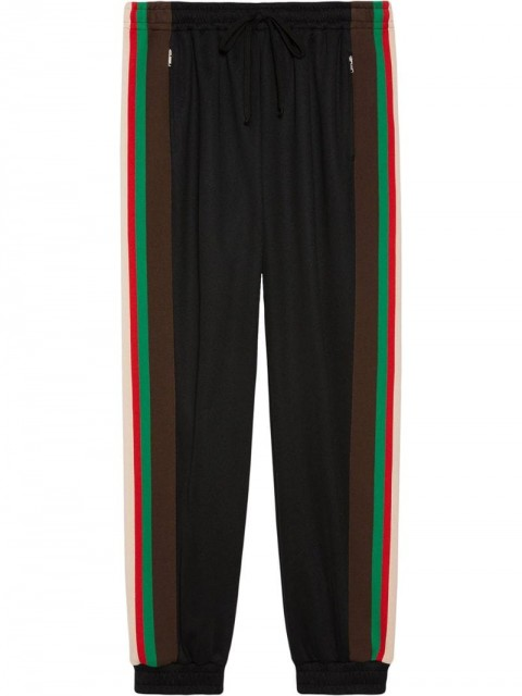 Gucci - stripe panel track pants - men - Cotton/Polyester - XL, XS, S, M, XXXL - Black
