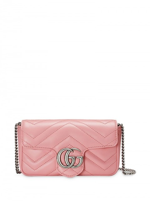 Gucci - GG Marmont matelassé shoulder bag - women - Leather/Microfibre/Palladium Plated Brass - One Size - PINK