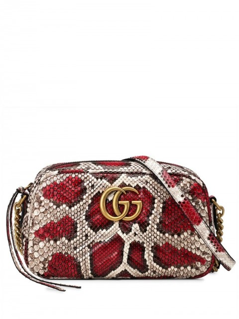 Gucci - GG Marmont small shoulder bag - women - Python Skin/Suede/Gold Plated Metal - One Size - Red