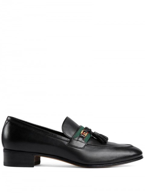 Gucci - Web detailed GG motif loafers - men - Leather - 10, 5, 7, 7,5, 8, 10,5, 9, 6, 6,5, 11 - Black
