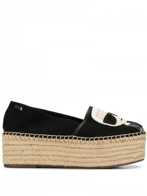 Karl Lagerfeld - Kamini Karl Ikonik espadrilles - women - Leather/Canvas/Rubber - 36 - Black