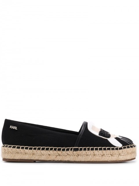 Karl Lagerfeld - logo espadrilles - women - Polyester/Leather/Leather - 40, 41 - Black
